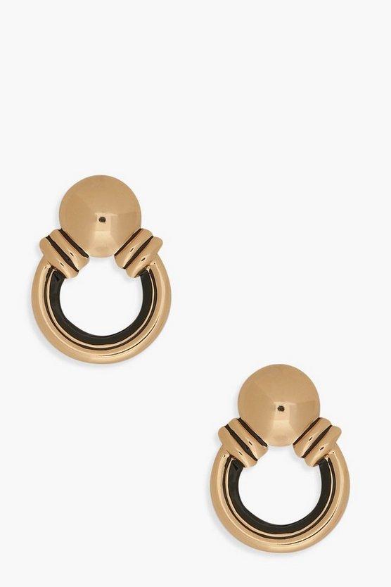 Contrast Metal Circle Stud Earrings