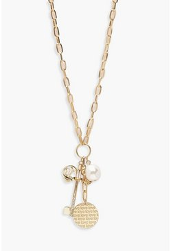 Dam Gold Key & Pearl Chain Necklace