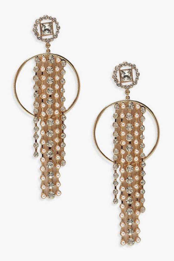 Pearl & Diamante Hoop Drop Earrings