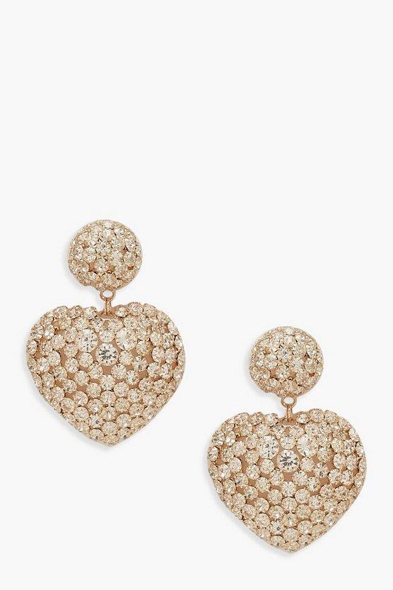 Premium Diamante Heart Statement Earrings