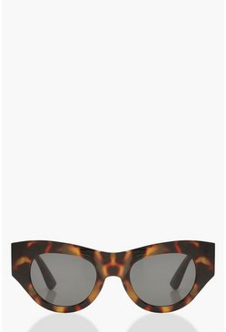 Womens Brown Tortoiseshell Chunky Frame Sunglasses