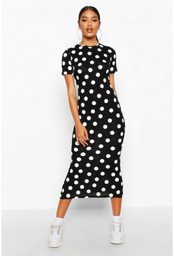 Womens Black Spot Crew Neck Midaxi Dress