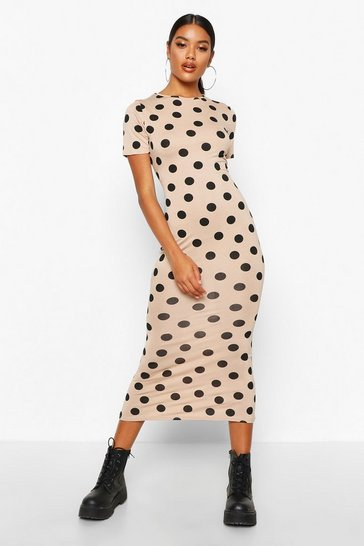 Stone Spot Crew Neck Midaxi Dress