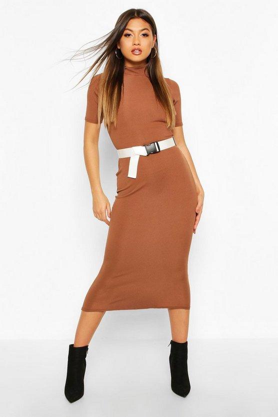 Rib Funnel Neck Midaxi Dress