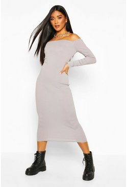 Grey Rib Bardot Midaxi Dress