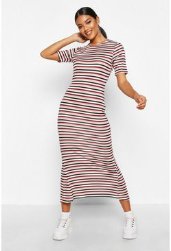 Womens Soft pink Stripe Crew Neck Midaxi Dress