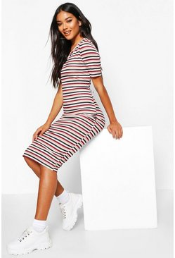 Womens Soft pink Stripe Notch Front Midi Dress