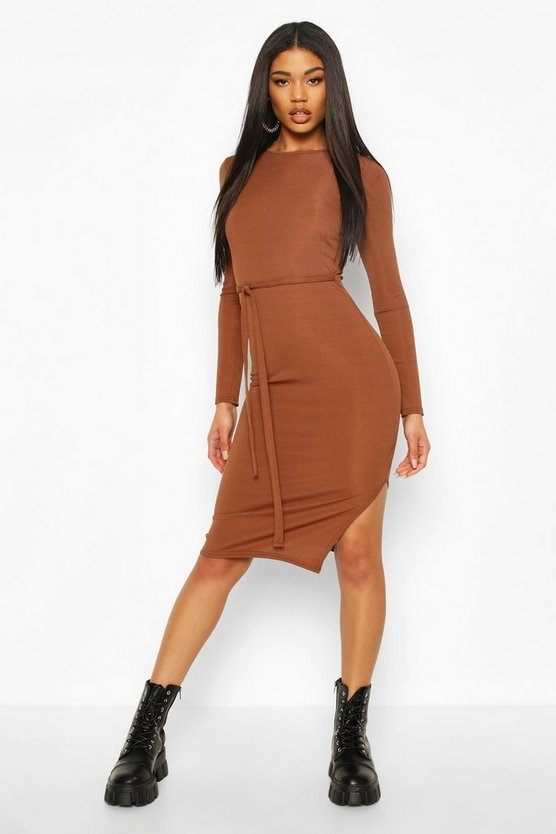 Chocolate Rib Crew Neck Belted Midi Dress