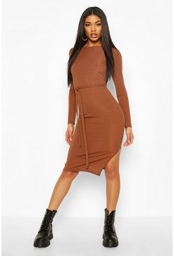 Womens Chocolate Rib Crew Neck Belted Midi Dress