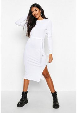 White Rib Crew Neck Belted Midi Dress