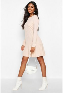 Womens Blush Rib Frill Hem Shift Dress