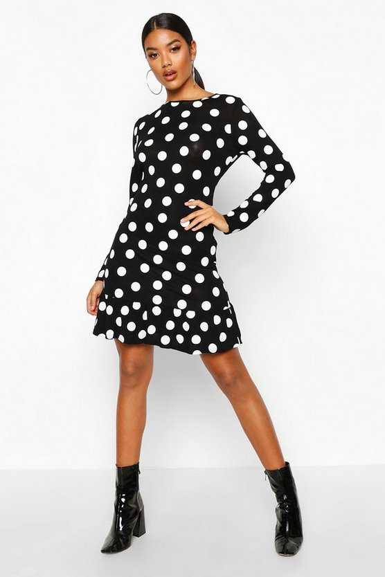 Black Spot Crew Neck Frill Hem Shift Dress