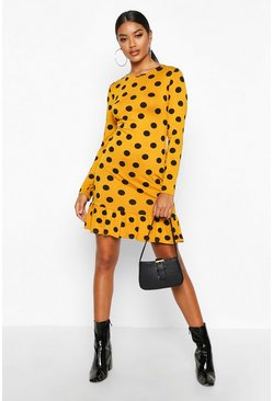 Mustard Spot Crew Neck Frill Hem Shift Dress