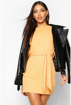 Orange Rib Belted Buckle Mini Dress