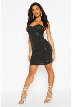 Womens Black Bandeau All Over Sequin Bodycon Dress