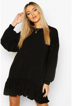 Womens Black Drop Hem Long Sleeve Sweatshirt Dress