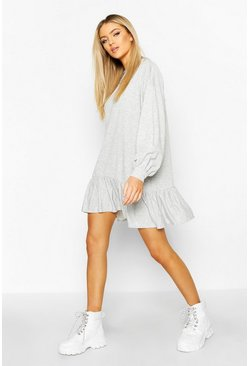 Womens Grey Drop Hem Long Sleeve Sweatshirt Dress