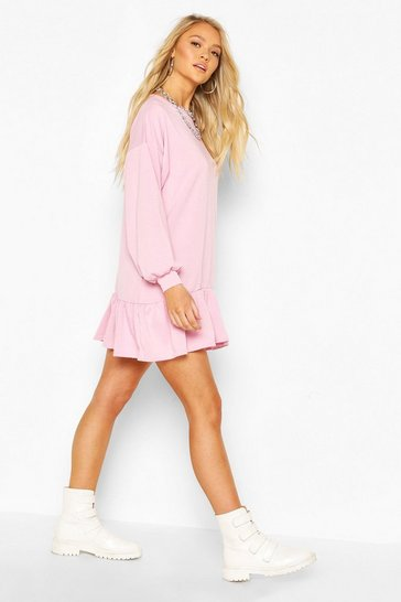 Lilac Drop Hem Long Sleeve Sweatshirt Dress