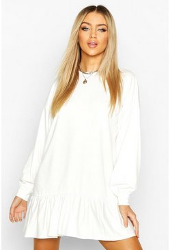Womens White Drop Hem Long Sleeve Sweatshirt Dress