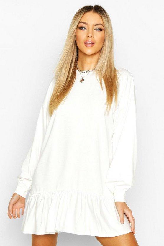Drop Hem Long Sleeve Sweatshirt Dress