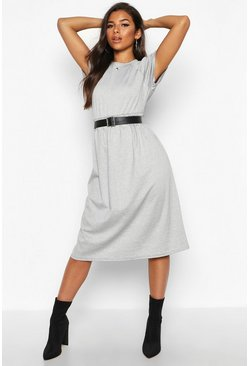 Womens Grey Short Sleeve Midi Smock Dress
