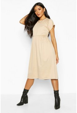 Stone Short Sleeve Midi Smock Dress