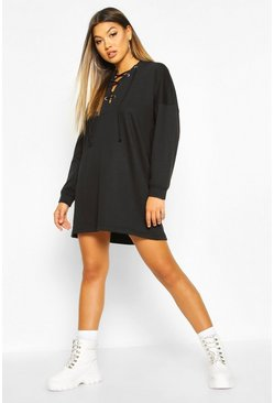 Womens Black Lace Up Hooded Oversized Sweatshirt Dress