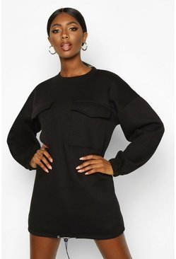 Womens Black Pocket Detail Drawstring Oversized Sweat Dress