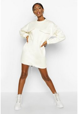 Dam Off white Pocket Detail Drawstring Oversized Sweat Dress