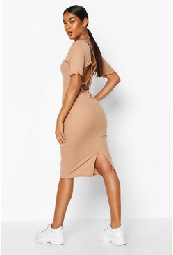 Womens Camel Rib Strappy Back Ring Detail Midi Dress