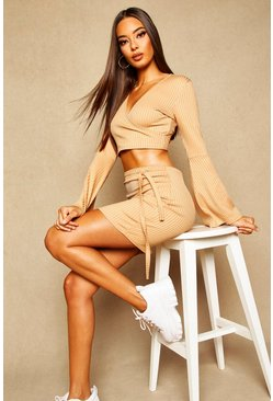 Butterscotch Ribbed Tie Waist Mini Skirt