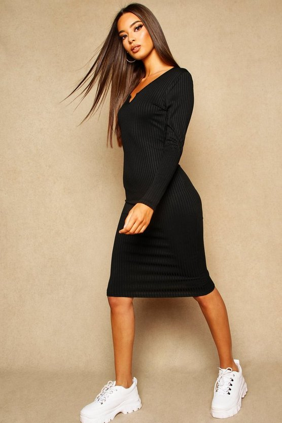 Black Notch Front Ribbed Midi Dress