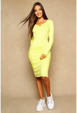 Womens Lime Notch Front Ribbed Midi Dress