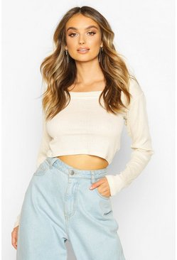 Ecru Rib Scoop Neck Long Sleeve Crop Top