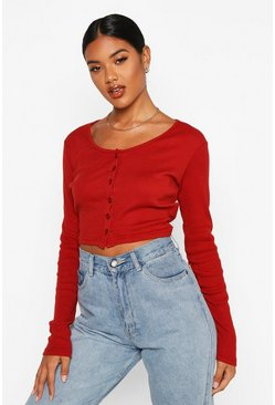 Rust Rib Button Through Long Sleeve Crop Top