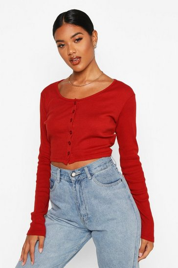 Womens Rust Rib Button Through Long Sleeve Crop Top