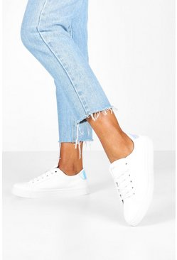 Womens White Holographic Panel Basic Lace Up Flat Trainers