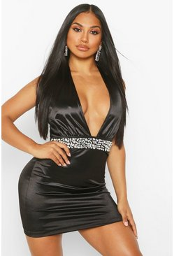 Black Stretch Satin Jewel Detail Mini Dress