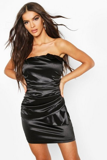 Womens Black Stretch Satin Bandeau Rouched Mini Dress