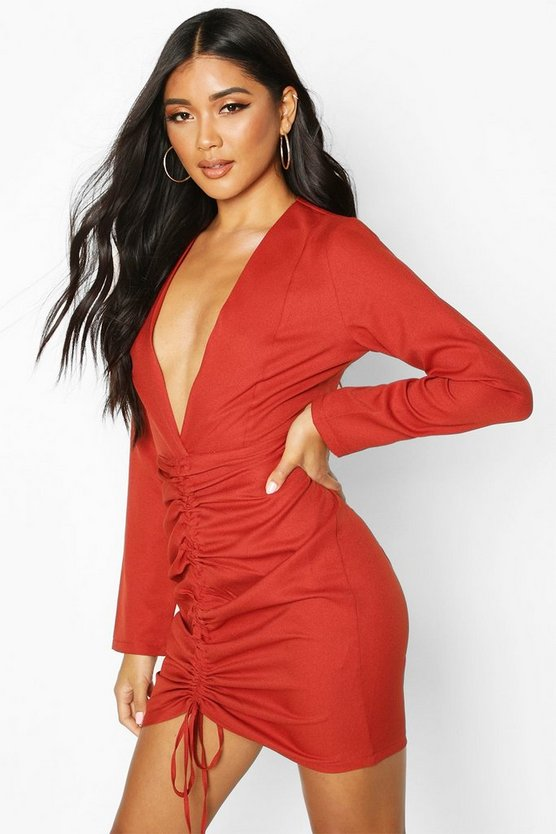 Rust Woven Plunge Rouche Front Mini Dress