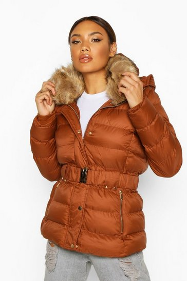 Womens Tobacco Belted Faux Fur Trim Parka