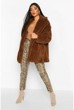 Womens Camel Oversized Teddy Faux Fur Jacket