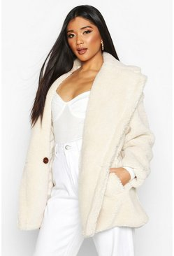 Womens Cream Oversized Teddy Faux Fur Jacket