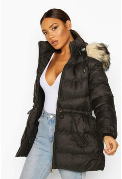 Dam Black Faux Fur Trim Parka