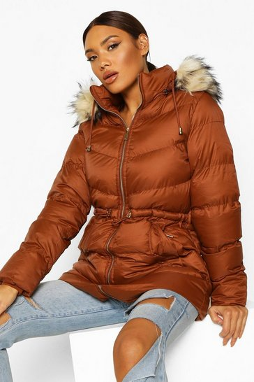 Womens Tobacco Faux Fur Trim Parka