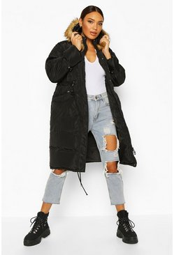 Womens Black Oversized Faux Fur Trim Parka