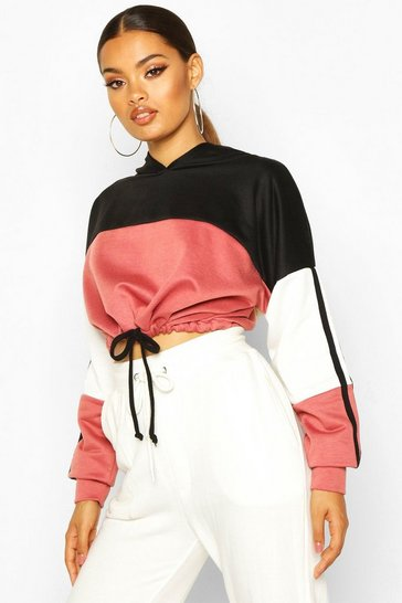 Antique rose Colour Block Sports Stripe Tie Crop Hoodie