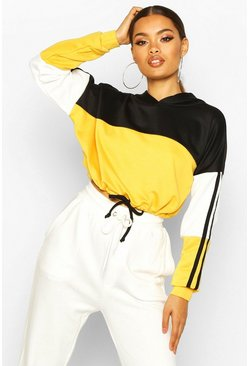 Womens Yellow Colour Block Sports Stripe Tie Crop Hoodie