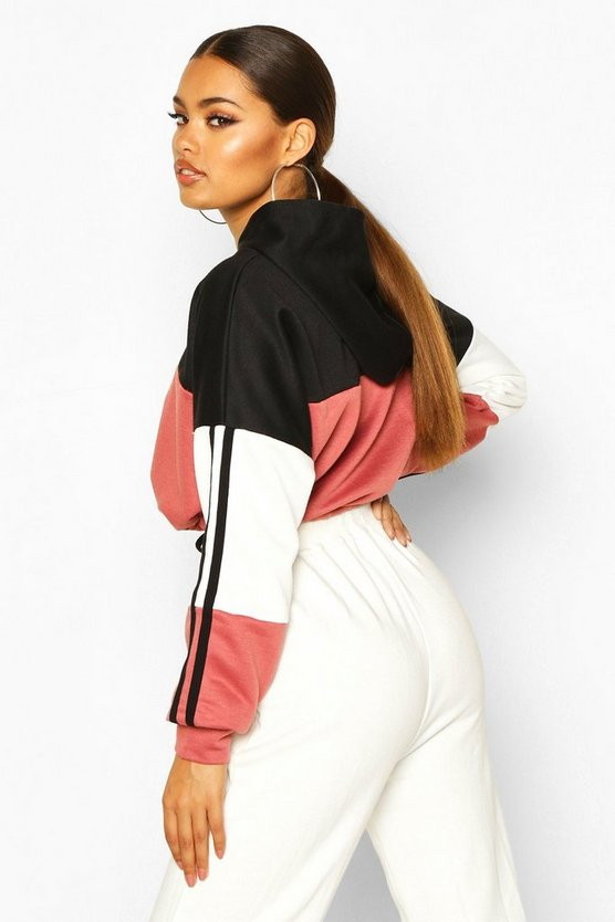 Colour Block Sports Stripe Tie Crop Hoodie