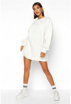 Womens Ecru Extreme Oversized Crew Neck Sweat Dress